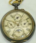Wwi Imperial Russian Officerand039s Gunmetalandenamel Calendar Moon Phase Pocket Watch