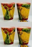Vietri Pottery- 4 Limoncello Glass - Shot Glass .made/painted By Hand In Italy