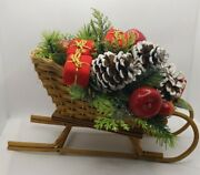 🔥vintage Woven Wicker Christmas Sleigh Decor Plastic Greenery Pine Cones Gifts