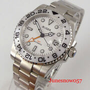 Sub Mechanical Men Watch Gmt Date Brushed Oyster Strap Sapphire Glass Screw