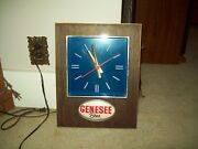 Vintage Genesee Beer Bar Tavern Clock Lighted Sign Collectible Chronometer