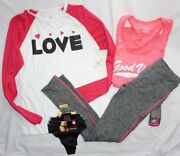 Nwt Womenand039s Lot 4 Fitness And Lounge Bobbie Brooks And More Leggings Shirts Sz M