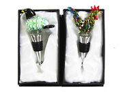 Combination Bird And Rooster Atr Deco Glass Wine Bottle Stoppers Pack Of 2