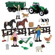 Kids Farm Animal Playset Figure Tractor Wagon Horses Cow Sheep Toddler Toy New