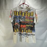 Vintage The Game 90s Davey Allison 28 Traditions White Nascar Tee Signed W Auto