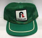 """Vintage """"frito Lay"""" Green All Mesh Truckers Hat Cap Snapback 1970's - 80's"""