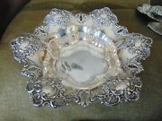 Antique Silver Hallmark Pierced And Repousse Sterling Silver 13 Fruit Bowl 23 Oz