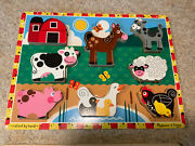 2 Melissa And Doug Puzzles/farm Animals Wood And Construction Site Wood Frame