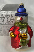 Rare Retired Nordstrom Exclusive Ornament Snowman W/ Dove Hand Blown And Paint