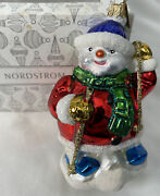 Rare Retired Nordstrom Exclusive Ornament Skiing Snowman Hand Blown And Paint