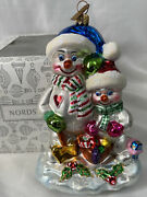 Rare Retired Nordstrom Exclusive Ornament Snowman And Snowboy Hand Blown