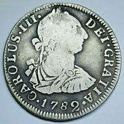 1782 Vf Spanish Bolivia Silver 2 Reales Antique 1700and039s Old Colonial Two Bit Coin