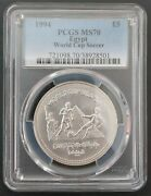 Egypt Silver Matte 5 Pounds Unc Coin 1994 Year Km736 Fifa Football Pcgs Ms70 🥇