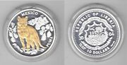 Liberia - Silver Gold Platted Proof 10 Coin 2004 Year Mexico