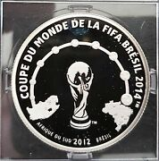 Ivory Coast - Silver Proof 1000 Francs Coin 2012 Year Brasil Fifa World Cup