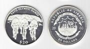 Liberia - Silver Proof 20 Coin 2000 Year Olympic Games Km489 Cycling