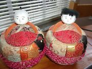 Rare Antique Asian Dolls Silk Wrapped With Hand Painted Porcelain/ Bisque Heads