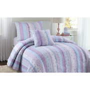 Beautiful Chic Cottage Shabby Pink Purple Lavender Lilac Blue Ruffle Quilt Set