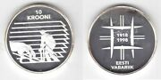 Estonia Silver Proof 10 Krooni Coin 1998 Year Km32 80th Anni Independence