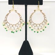 14k Antique Rose Diamond And Emerald Earrings