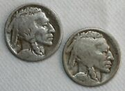 2 Coin Lot 1916 S D Buffalo Indian Head Nickels 5c Us Coins Almost Good And Good