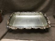 Beautiful Epca Poole Silver 408 Silverplate Footed Serving Tray, 18 X 12 1/2