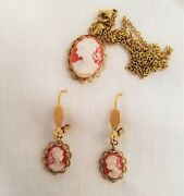 Cameo Set Pendant And Earrings Made With Vintage Cameo Victorian Revival