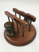 Vintage Wooden Napkin And Toothpick Holder Round Rooster