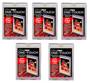 5x Ultra Pro 23pt One-touch Display Holder For Thinner Card Uv Safe Gold Magnet