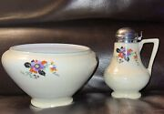 Royal Rochester Royalite Floral Bowl And Covered Syrup Dispenser