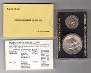 India - Silver 2 Dif Unc Coins Mint Set 0,5 - 10 Rupees 1972 Year Independence