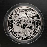 Falkland Islands - Silver Proof 5 Pounds Coin 1992 Year Km37 Ship 1st Sighting