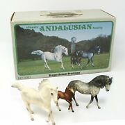 Breyer Classic Andalusian Family Of 3 3060, 2 Horses 1 Foal In Box, Vintage