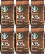 6 Pack Starbucks Medium Pike Place Roast Coffee Ground 12 Oz Best Before 11/2020