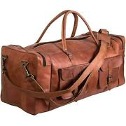 30 Men's Brown Vintage Genuine Leather Goathide Travel Luggage Duffle Gym Bags