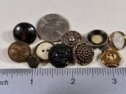 Lot Of 10 Antique Vintage Metal Brass Pod Post Office Victorian Black Buttons
