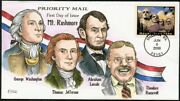 4268 Collins Hand Painted Fdc Mount Rushmore 4.80 Stamp Priority Mail Perfect