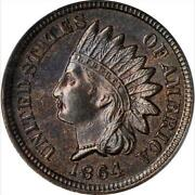 1864 Bronze 64 Indian Cent Graded Ms-64 Bn Nice