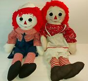 Raggedy Ann And Andy Dolls Knickerbocker Pair 3 Foot Vintage Early 70s Euc Large