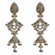 Natural Pave Diamond 14k Gold Sterling Silver Antique Look Chandelier Earrings