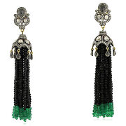 Natural Diamond Spinel And Emerald Beads Tassel Earrings 18k Gold Silver Jewelry