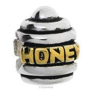 Gold Plated On 925 Sterling Silver Honey Bee Pot European Style Bead Charm