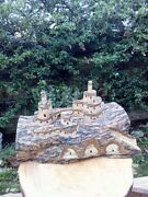 Hand Carved Wooden Castle Wood Pop Up-hidden Castle Made From Olive Wood