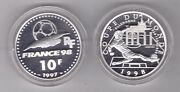 France Silver Proof 10 Francs Coin 1997 Year Km1164 Fifa Football 1998 Germany