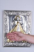 Large Divine Mercy Catholic Icon Silver Plated Religious Wall Art Handmade