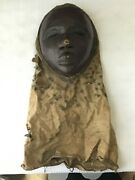 Vintage/ Antique African Wooden Mask With Cloth Head And Neck Cover