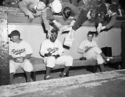 Kids Try For Dodgers Jackie Robinson's Autograph 1947 Old Baseball Photo