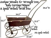 Antique 1800s Wooden 8spoke Pram Buggy Baby Doll Stroller Carriage Wagon Wheels