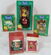 5 Vintage Disney Christmas Tree Ornaments Tree Decorations Pooh And Piglet Lot Nos
