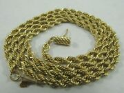 14k Solid Gold Rope Necklace Heavy Hard Tot Find 24 Long. 1527